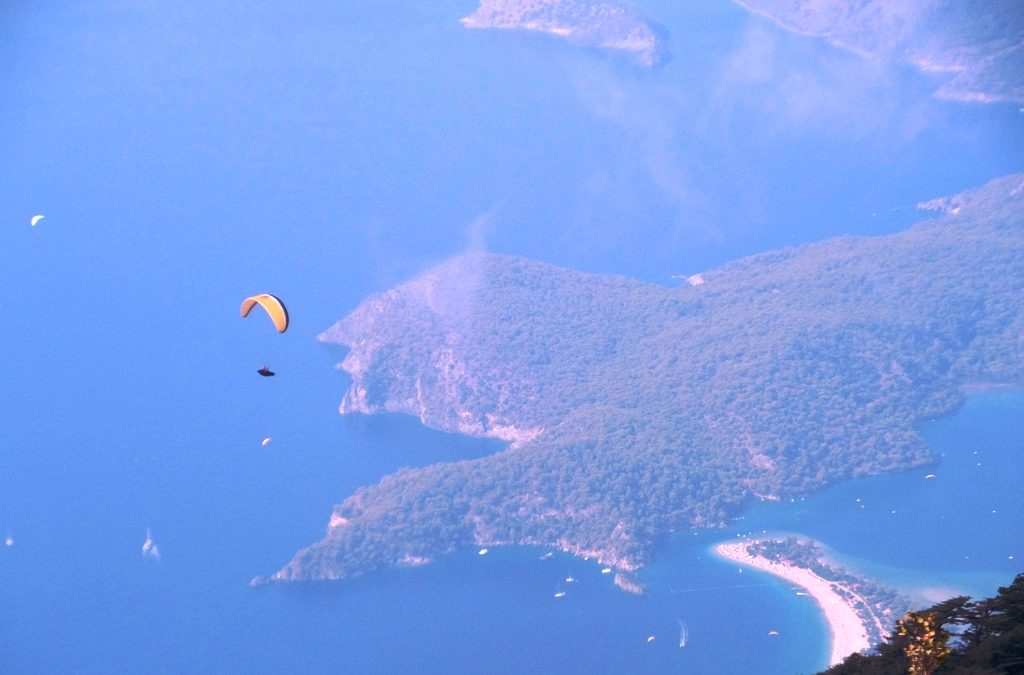 Blue lagoon Oludeniz beach Aerial view.