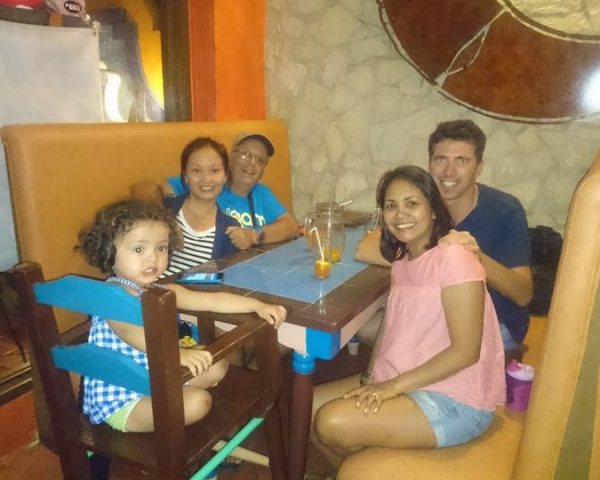 Eating pizza in Dumaguete City
