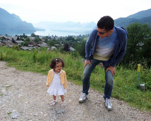 Lara and Dad in St. Gilgen, Austria