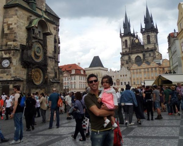 Lara and dad in the old town of Prague