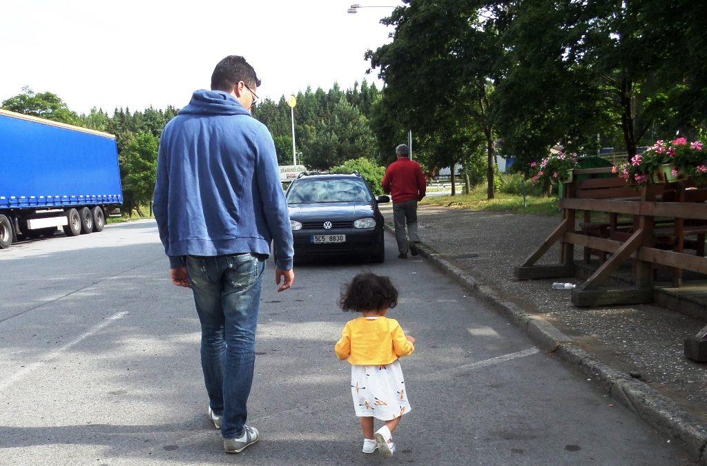Lara and dad walking in Slovakia