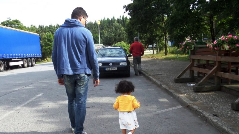 Lara and dad walking in Slovakia
