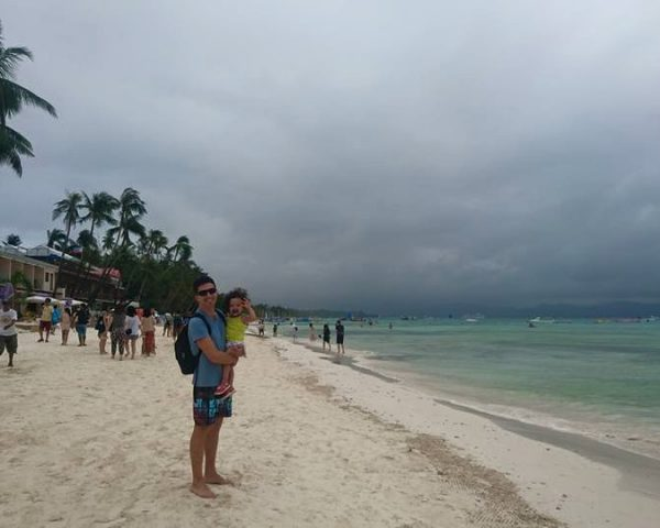 Lara and papa at Boracay Beach