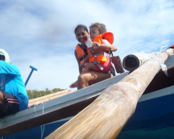 Lara on the boat in Oslob observing shark whales