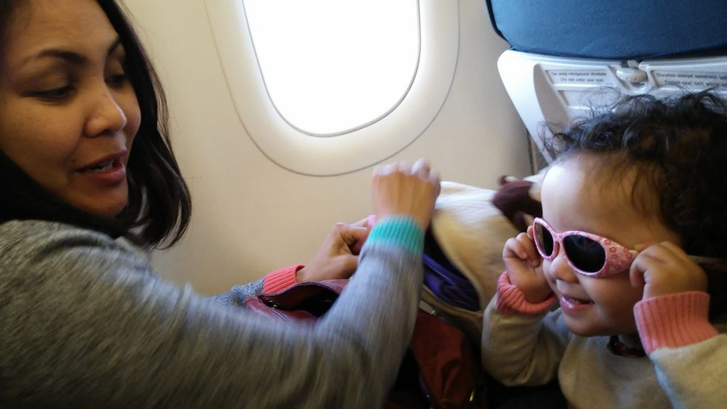 Lara on the plane with Turkish Airlines