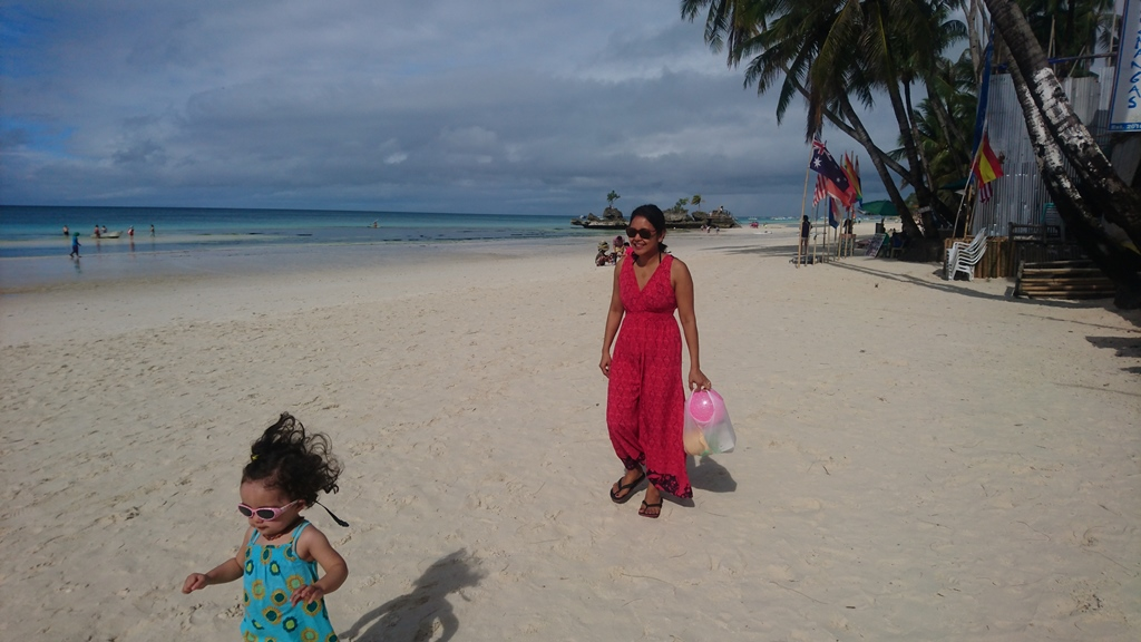 Mom and Lara with style on the beach of Boracay