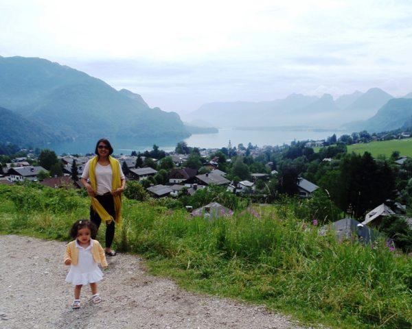 Mom and baby Lara in St. Gilgen, Austria