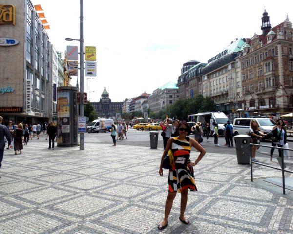 Mom Nerissa in the city of Prague