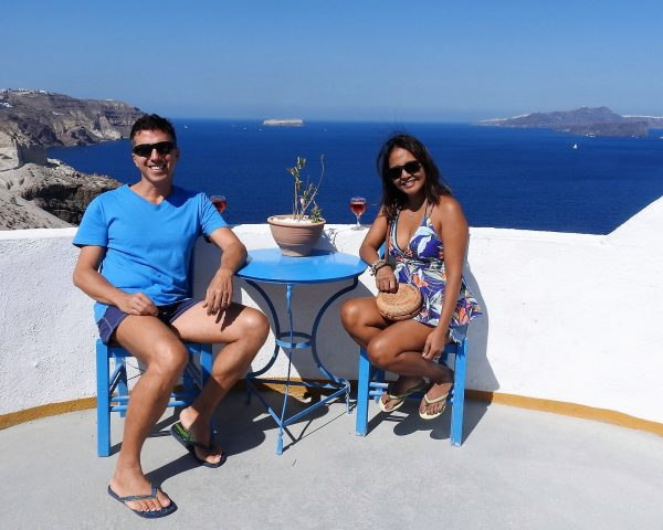 A glass of wine in Santorini