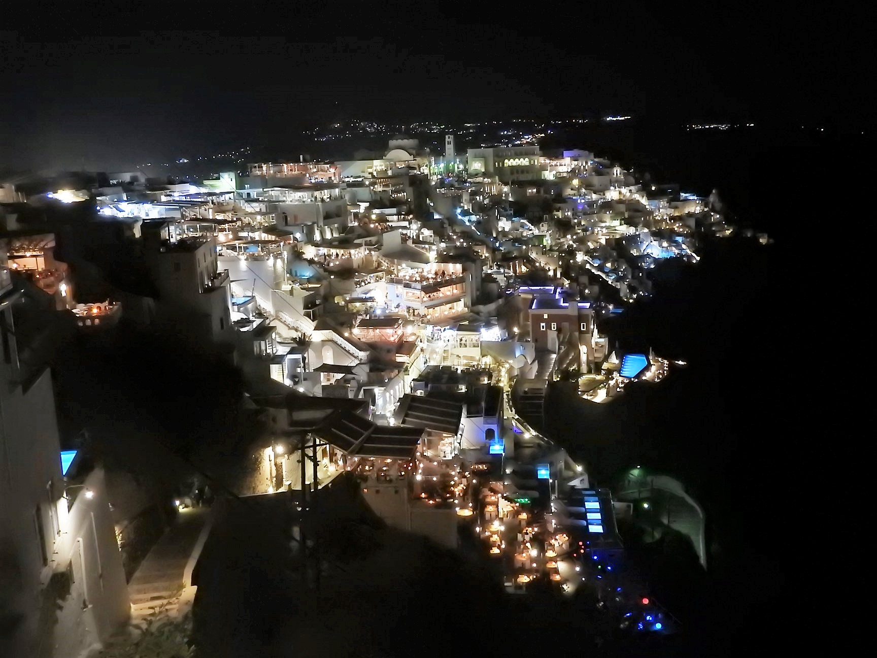 Fira by night, Santorini Islands