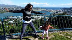 Happy Lara and Mom in Wellington. Lara is the world's youngest travel blogger.