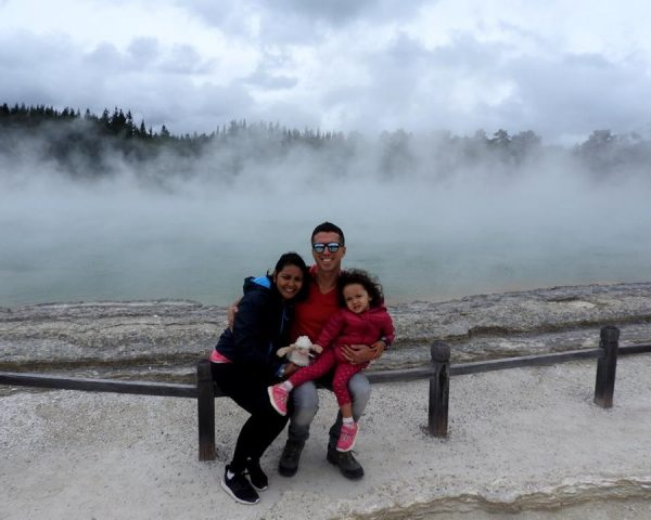 Lara, Mom, and Dad at Wai-O-Tapu Thermal Wonderland