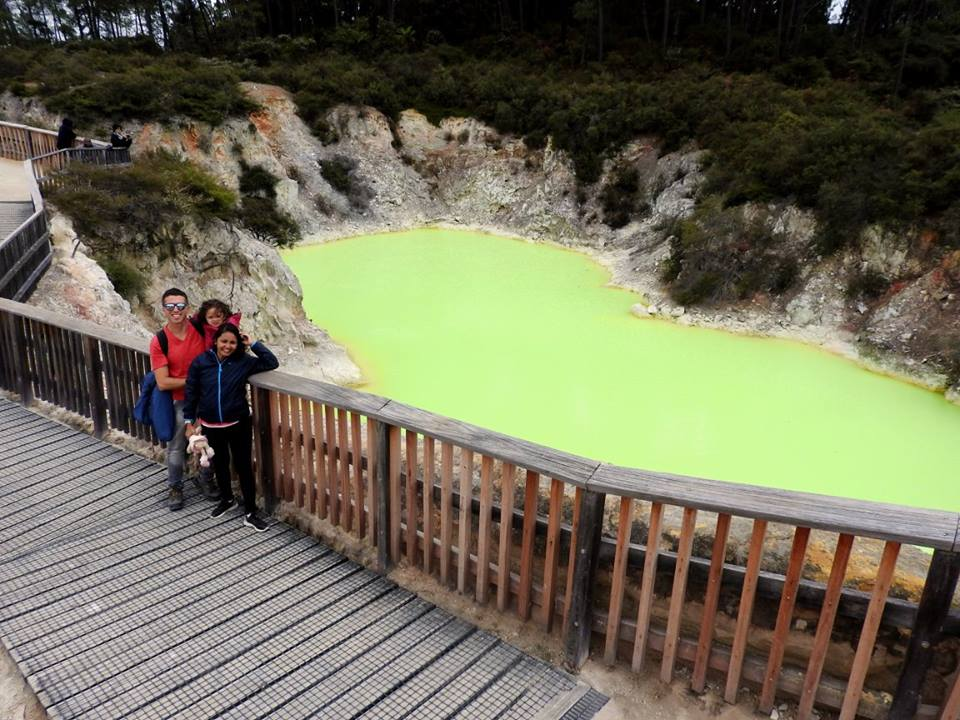 Lara, Mom, and Dad at the Green Pond, Wai-O-Tapu, Thermal Wonderland