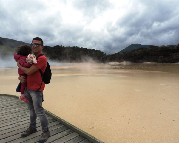 Lara and Dad at Wai-O-Tapu Thermal Wonderland