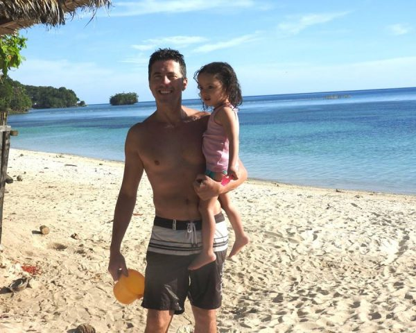Lara and Dad at the beach in Guindulman