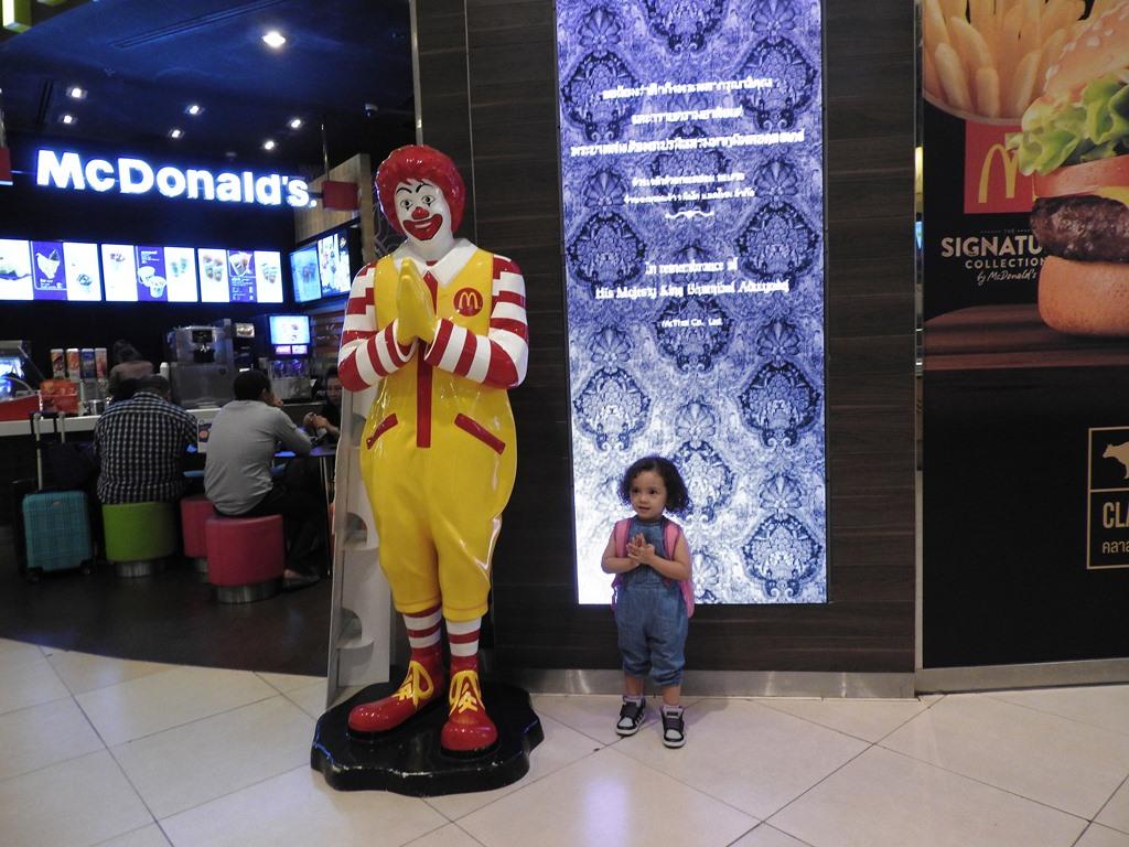 Lara and Mc Donalds at the Siam Paragon Shopping Mall in Bangkok