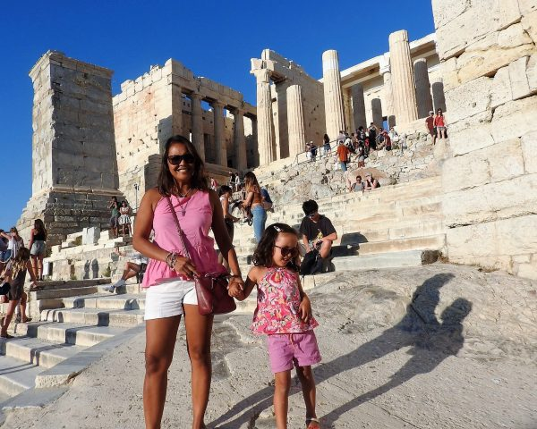 Lara and Mom at the Acropolis