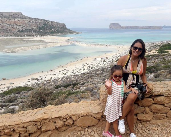 Lara and Mom at the Balos Lagoon, Crete