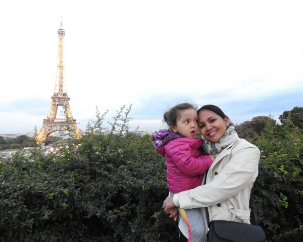 Lara and Mom at the Eiffel Tower