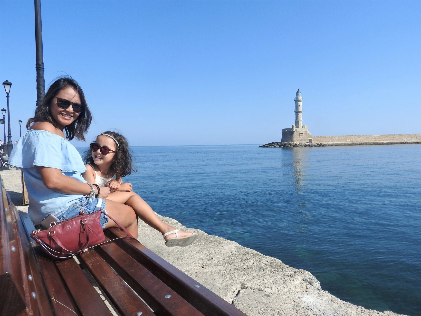 Lara and Mom at the old Venetian Harbor of Chania