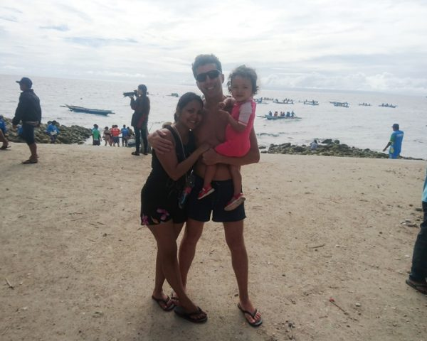 Lara and family at the beach of Oslob