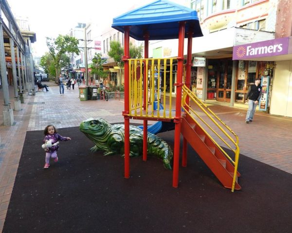 Lara having fun in Wellington city center