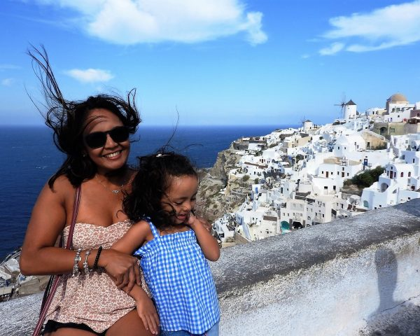 Lara with Mom in Oia, Santorini