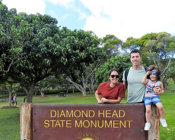 My family at Diamond Head Crater