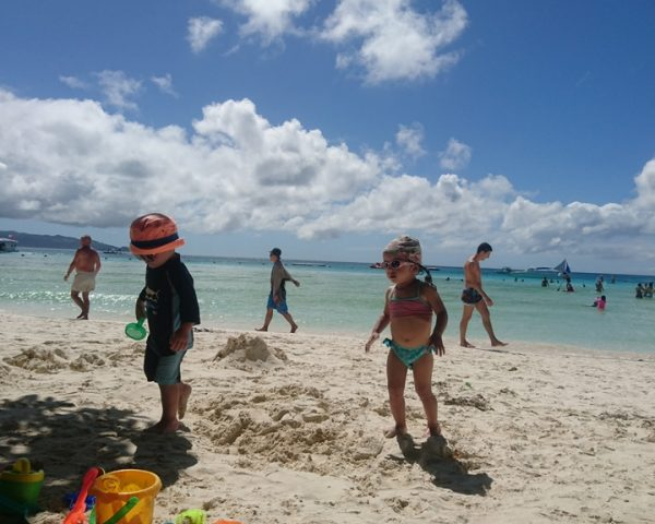 Playing on the beach of Boracay
