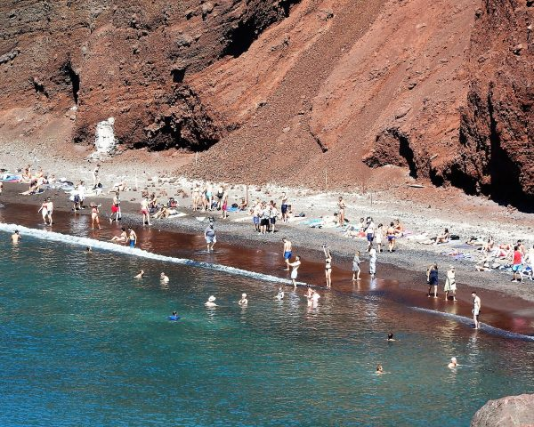 Swimming at the Red Beach of Santorini