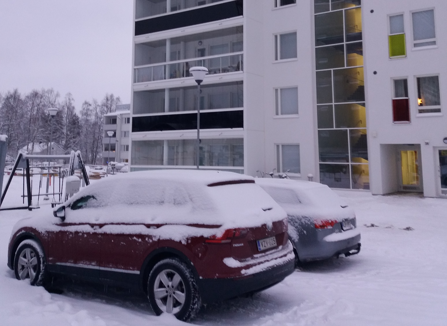 Outside our Accommodation in Rovaniemi, Lapland Finland