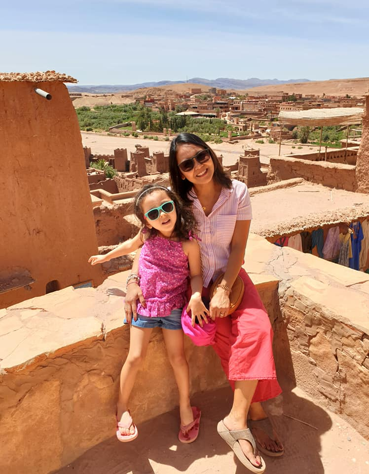 Lara and mom at the Ksar of Ait-Ben-Haddou