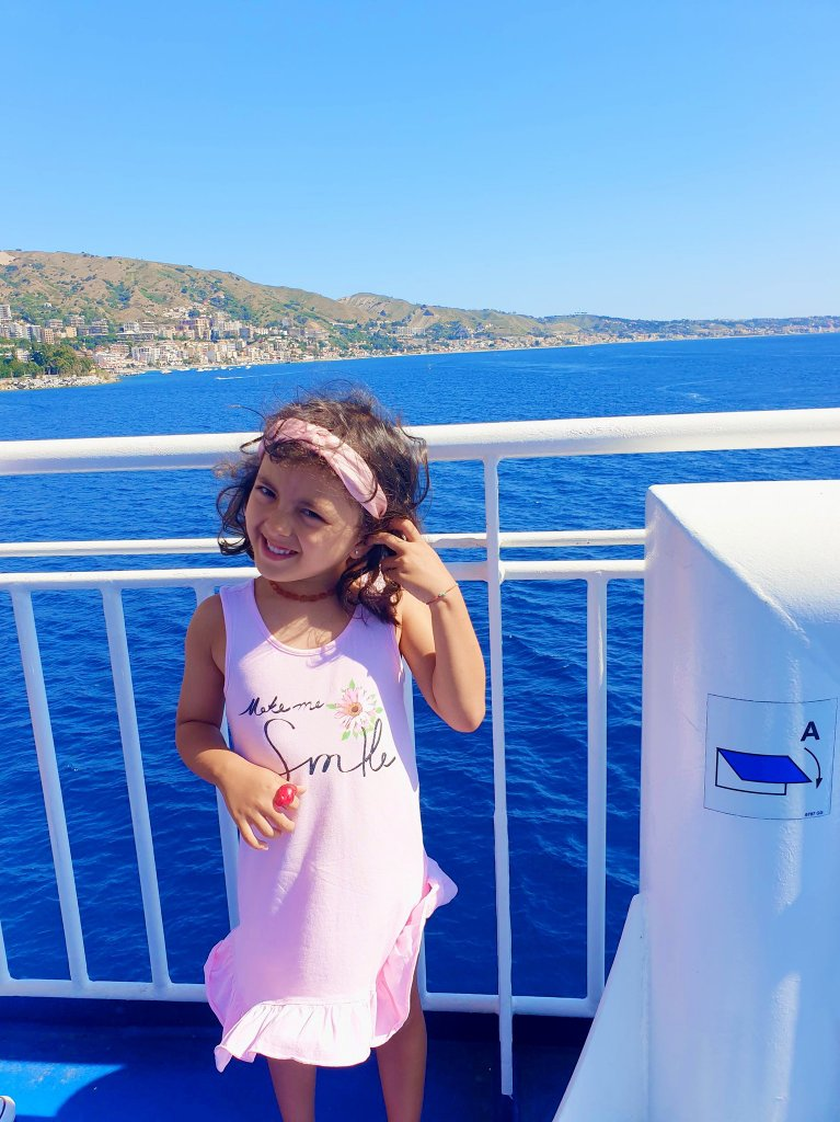 Lara The Explorer on the Ferry to Mainland Italy